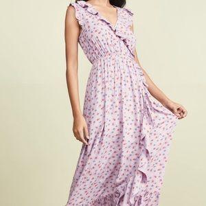 Madewell Purple Ruffle Edged Wrap Maxi Dress